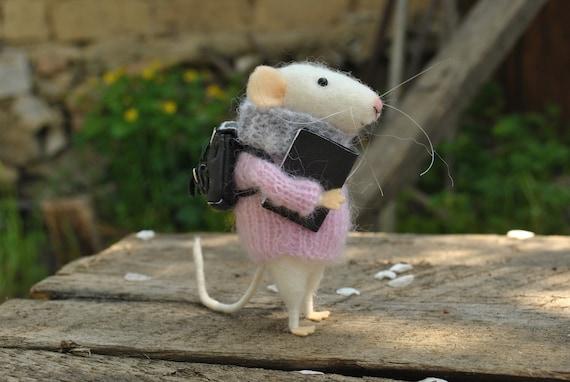 felt toy needle felt animal Needle felted toy mouse Drummer wool toy