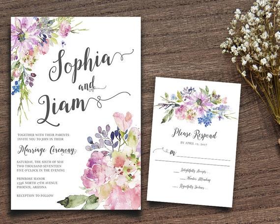 b971587ddf87 Purple Boho Chic Invite Rustic Wedding Suite Bohemian