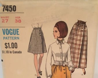 vintage Vogue 7450 pattern, misses skirt, waist 27, hip 38, 1960, 60s fashion