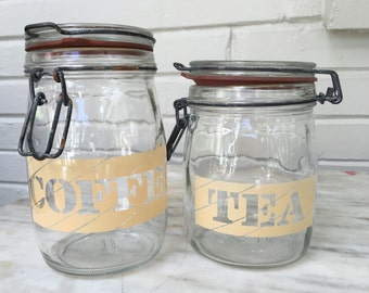 vintage Coffee Tea glass hinged canisters, 1L and 3/4L, set of 2, retro kitchen storage, coffee jar, tea jar