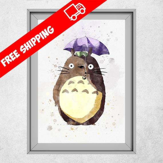 Totoro que mi vecino imprimir acuarela Poster de Totoro   Etsy