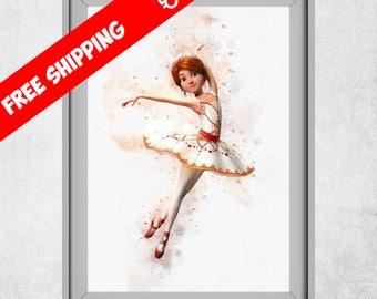 Leap Ballerina Wall Art, Leap Movie Print, Ballerina Decor, Leap Movie Nursery Decor, Kids Room Decorations, Baby Girl Wall Art