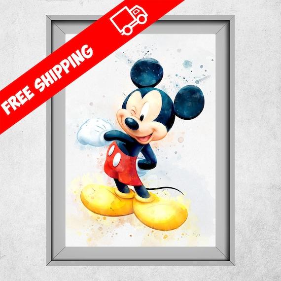 Micky Maus Kinderzimmer Dekoration Mickey Mouse Print Disney Kinderzimmer Dekor Aquarell Mickey Mouse Kinder Zimmer Wand Kunst Giclee