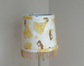 Belle lamp shade, Beauty and the Beast with fringe trim