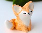 Fox Totem. Handmade Ceramic Miniature Plant Pot Decor, Cake Topper, One Of A Kind Keepsake, Boho Gift