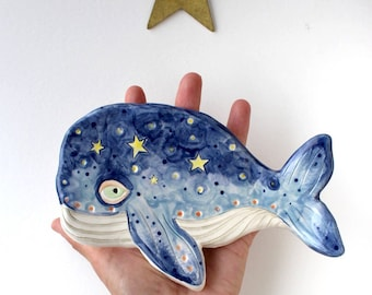 Whale and Stars Dish Handmade Ceramic Jewellery Dish/Spoon Rest/Soap Dish/Tea Bag Holder -Keepsake  Gift