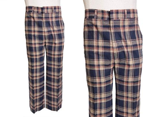 1970s Hagar Plaid Straight Leg Trousers