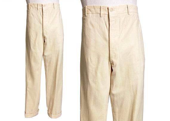 Mens Vintage 1930s Cream Flannel Trouser