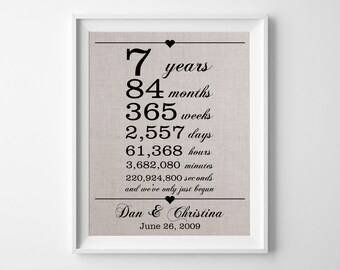 7 years together | Linen Anniversary Print | 7th Wedding Anniversary Gift | Weeks Days Hours Minutes Seconds | Gift for Husband Wife