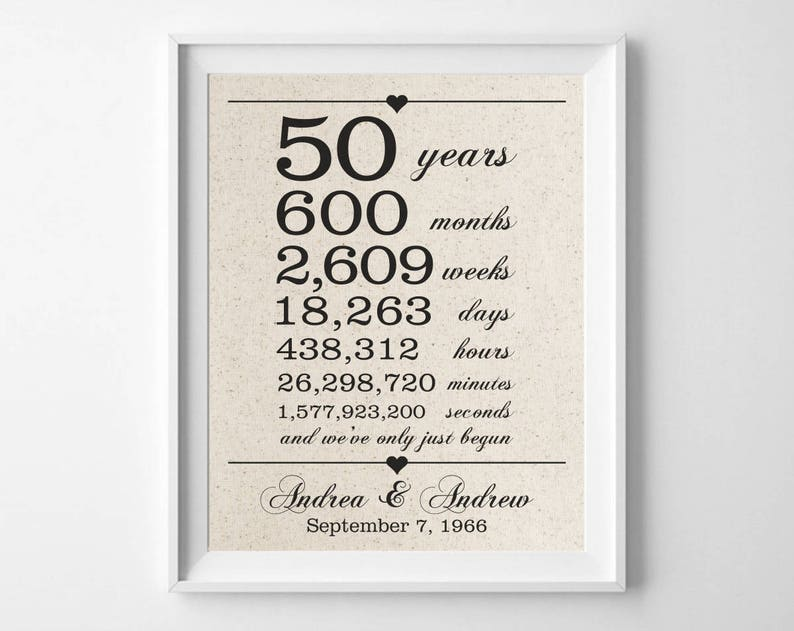Personalized Print on 100/% Cotton Fabric 50 years together 50th Anniversary Gift for Husband Wife Days Hours Minutes Seconds