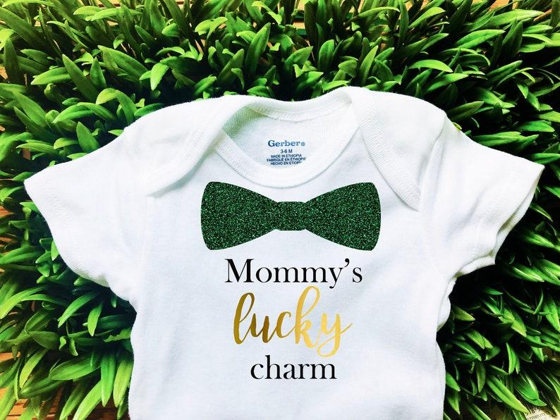 Irish Mommys Lucky Charm Baby Onesie Luck Charm Onesie Irish St Patricks Day Boy Girl Onesie Outfit St Paddys Day Baby Onesie