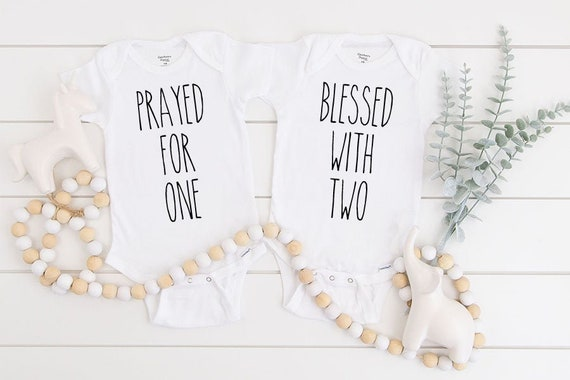 twins Blessed with two outfit Twins gift Prayed for one onesie\u00ae Twins baby shower gift Twins gift onesie\u00ae twins Onesie\u00ae