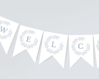 Bridal Shower Banner Template, Welcome Banner Shower Decor, Minimal Leaf, Edit Colors and Text with Templett, Olivia in Dusty Blue