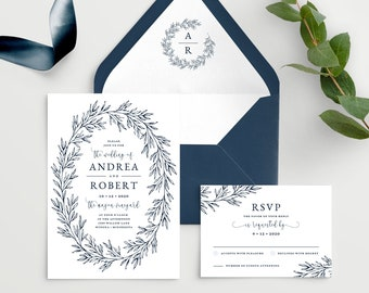 Wedding Invitation Template with Envelope Liner, Elegant Hand Drawn Calligraphy Wreath with Monogram, Olivia Suite in Navy