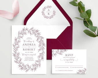 Wedding Invitation Template with Envelope Liner, Elegant Hand Drawn Calligraphy Wreath with Monogram, Olivia Suite in Burgundy