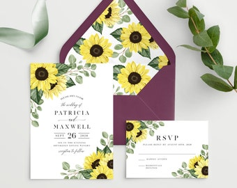 Sunflower Wedding Invitation Template with Envelope Liner, 100% Editable Printable Template, Edit all the Colors including the Flowers! 144