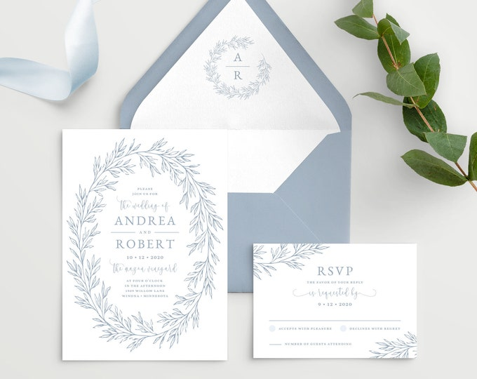 Featured listing image: Wedding Invitation Template with Envelope Liner, Elegant Hand Drawn Calligraphy Wreath with Monogram, Olivia Suite in Dusty Blue