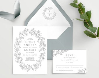 Wedding Invitation Template with Envelope Liner, Elegant Hand Drawn Calligraphy Wreath with Monogram Olivia Suite in Gray