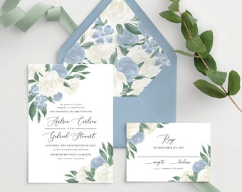 Wedding Invitation Template with Envelope Liners, Colors and Text Fully Editable, Dusty Blue Floral, Instant Download, Templett, 137V8