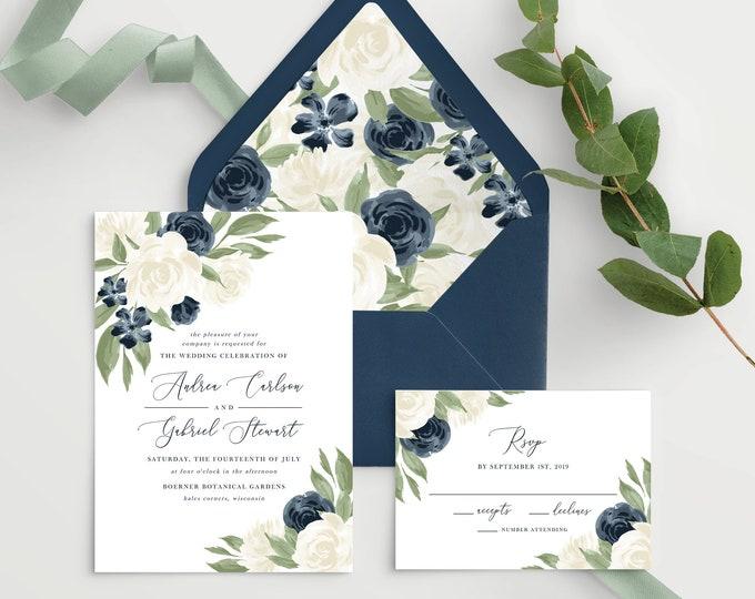 Featured listing image: Wedding Invitation Template with Envelope Liners, Wedding Invitations, Wedding Invitation Set, Wedding Invitation Suite, White and Navy