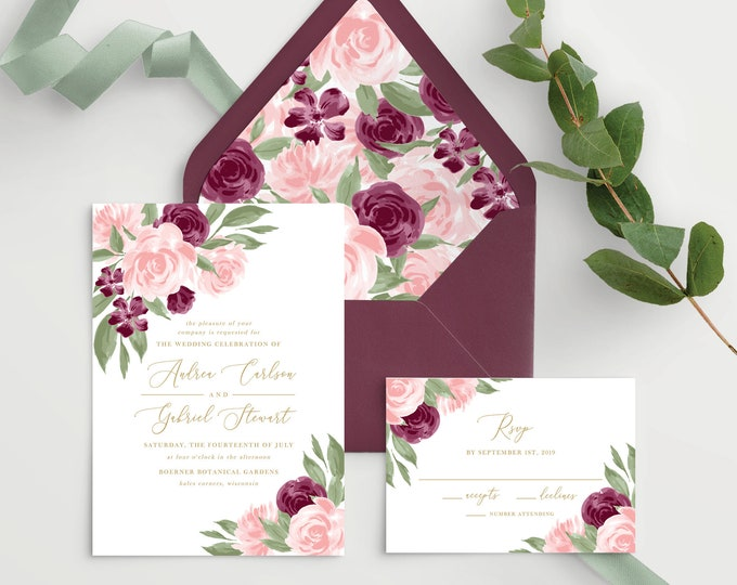 Featured listing image: Wedding Invitation Template with Envelope Liners, Wedding Invitations, Wedding Invitation Set, Wedding Invitation Suite, Burgundy and Blush