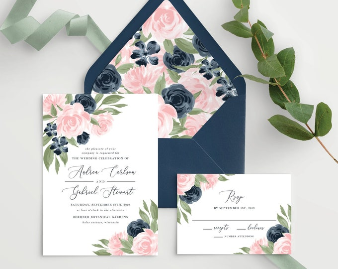 Featured listing image: Wedding Invitation Template with Envelope Liners, Wedding Invitations, Wedding Invitation Set, Wedding Invitation Suite, Floral Pink Navy