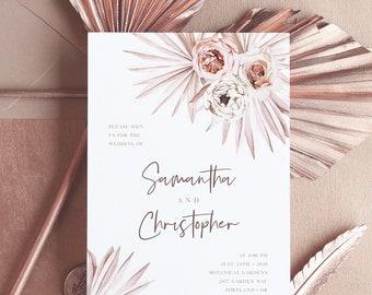 Wedding Invitation Template, Boho Floral Palm Leaf Fan Palm Leaves, Printable Wedding Invitation, Instant Download, Templett, 142V1