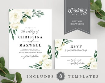 Greenery Wedding Invitation Template, Wedding Invitation Set, Wedding Invitation Kit, Wedding Bundle, Printable Instant Download, 139V1