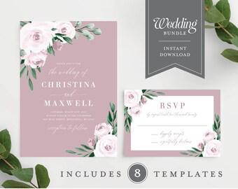Dusty Rose Floral Wedding Invitation Template Bundle 139V5