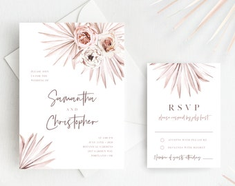 Wedding Invitation Template, Boho Blush Pink Floral Palm Leaf Palm Leaves, Printable Wedding Invitation, Instant Download, Templett, 142V1