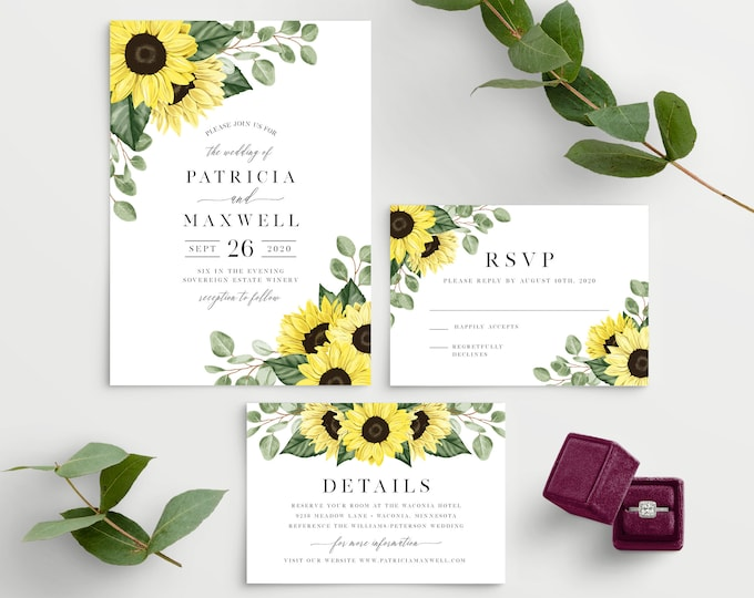Featured listing image: Sunflower Wedding Invitation Template, 100% Editable Printable Template, Edit all the Colors including the Flowers! 144