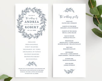 Wedding Program Template, Wedding Ceremony Order of Service, Elegant Hand Drawn Calligraphy Wreath with Leaves, Olivia Suite in Navy