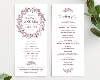 Wedding Program Template, Wedding Ceremony Order of Service, Elegant Hand Drawn Calligraphy Wreath with Leaves, Olivia Suite in Burgundy