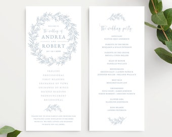 Wedding Program Template, Wedding Ceremony Order of Service, Elegant Hand Drawn Calligraphy Wreath with Leaves, Olivia Suite in Dusty Blue