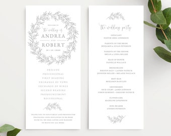 Wedding Program Template, Wedding Ceremony Order of Service, Elegant Hand Drawn Calligraphy Wreath with Leaves, Olivia Suite in Gray