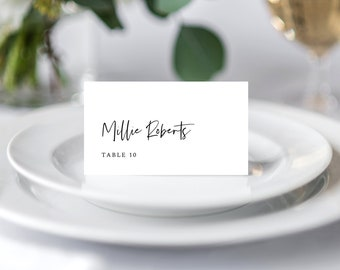Wedding Place Card Template, Minimal Folded Wedding Place Cards, Escort Cards, 148