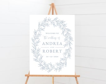 Wedding Welcome Sign Template, Minimal Calligraphy, Fully Editable Colors and Wording with Templett, Olivia in Dusty Blue