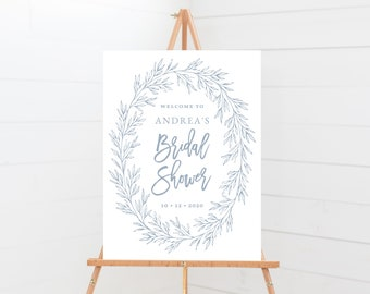 Bridal Shower Sign Template, Minimal Calligraphy Leaf, Fully Editable Colors and Wording with Templett, Olivia in Dusty Blue