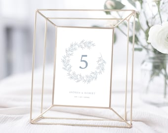 Wedding Table Numbers Printable, Elegant Calligraphy Leaf, Olivia in Dusty Blue