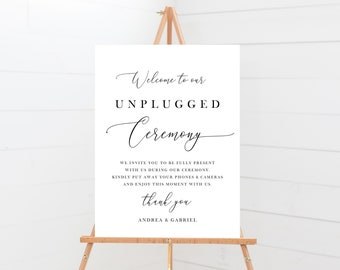 Unplugged Ceremony Sign, Minimal Calligraphy Unplugged Sign, 137V18