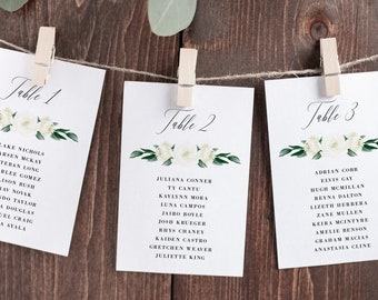 Seating Chart Cards Template, White Floral Greenery, Fully Editable Colors and Wording with Templett, 139V1