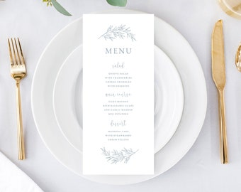 Printable Wedding Menu Card Template Download, Elegant Calligraphy Leaf, Olivia in Dusty Blue