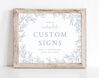 Wedding Sign Template, Minimal Leaf Calligraphy, Fully Editable Colors and Wording with Templett, Olivia in Dusty Blue