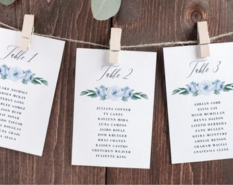 Seating Chart Cards Template, Dusty Blue Floral, Fully Editable Colors and Wording with Templett, 118