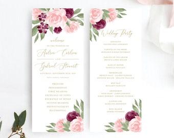Wedding Program Template, Printable Wedding Programs, Ceremony Program, Burgundy and Blush Pink Floral, Order of Ceremony, Templett