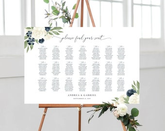 Wedding Seating Chart, Printable Seating Chart Template, Seating Board, Wedding Sign, Instant Download, Templett, Navy and White Floral