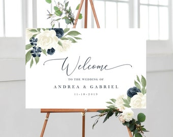 Welcome To Our Wedding Sign, Wedding Sign Template, Welcome Sign Template, Wedding Signs, Navy and White Floral Signs, Edit with Templett