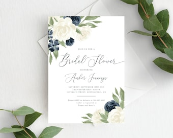 Bridal Shower Invitation Template, White and Navy Floral, Bridal Shower Invite, Printable, Instant Download, Templett