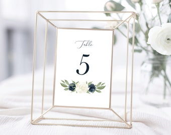 Table Number Template, Table Numbers, Printable Table Numbers, Table Numbers 1-40, White and Navy Floral