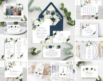 Instant Download Greenery Floral Template Bundle Includes Wedding Invitation, Envelope Liners, Program, Menu, Welcome Sign, and More!